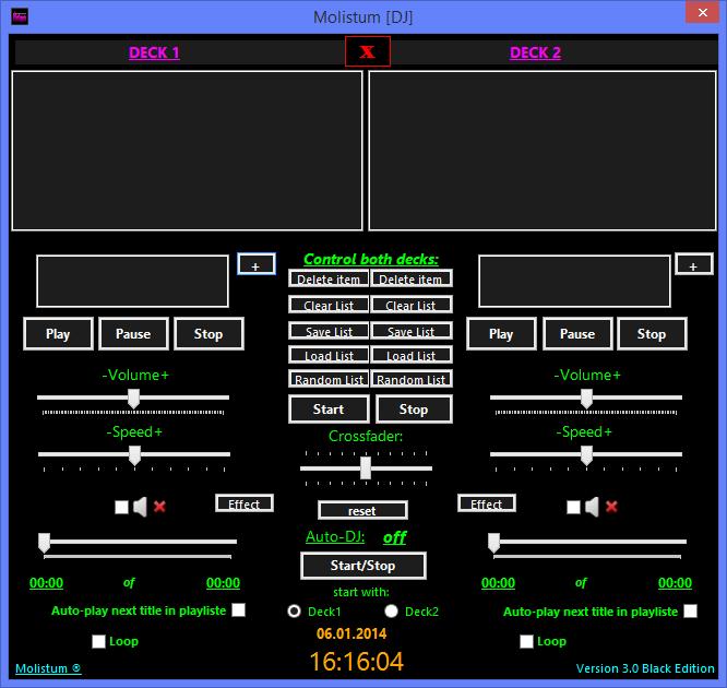 Oberfläche des DJ-Programms