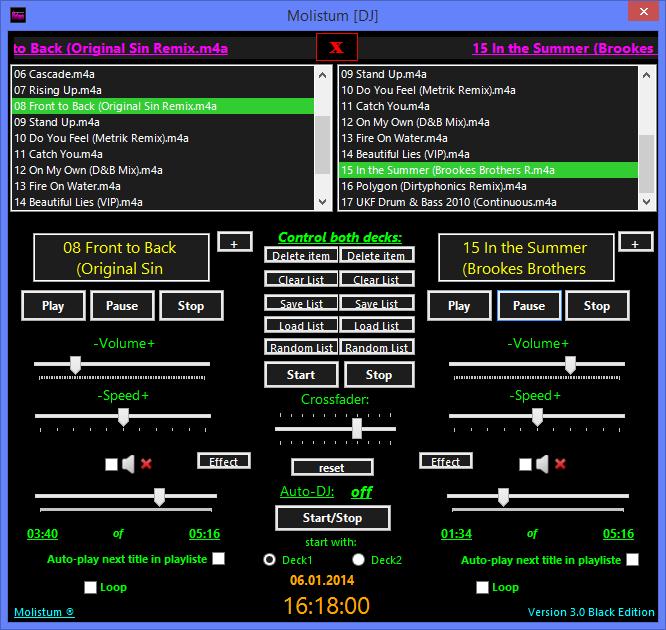 Oberfläche des DJ-Programms in Aktion